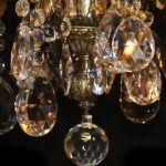 Crystal and Bronze Chandelier Close Up of Crystal