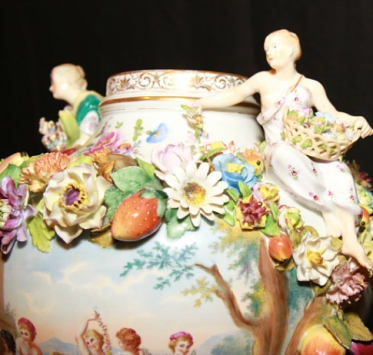 Dresden Vase Close Up Of Figurines Charlotte Nail Antiques