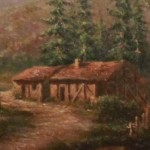 Oil on Canvas Close Up of Cabin