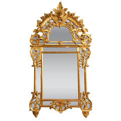 French 19th c Chinese chippendale style Giltwood Mirror