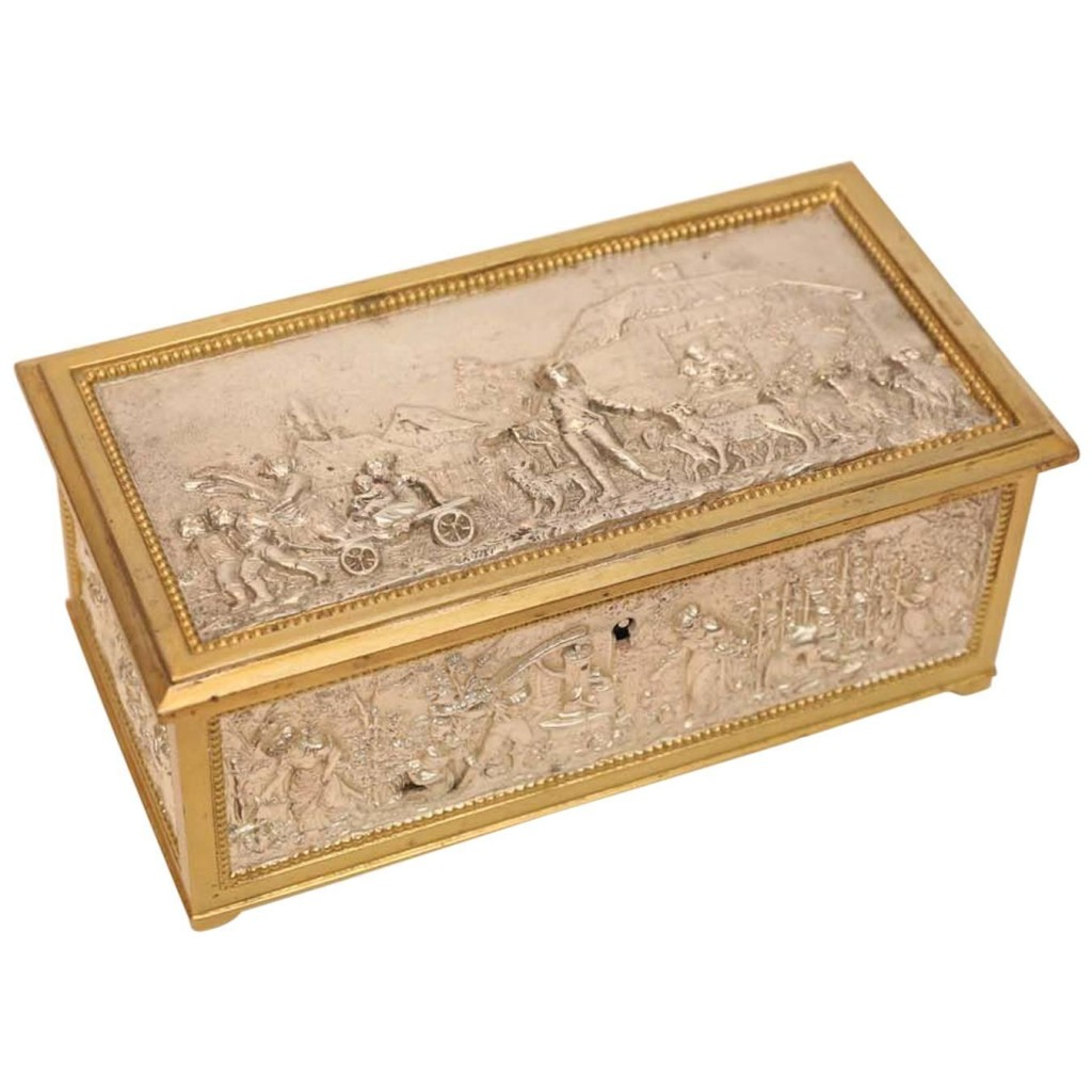 European Silver and Bronze Dore Decorative Box