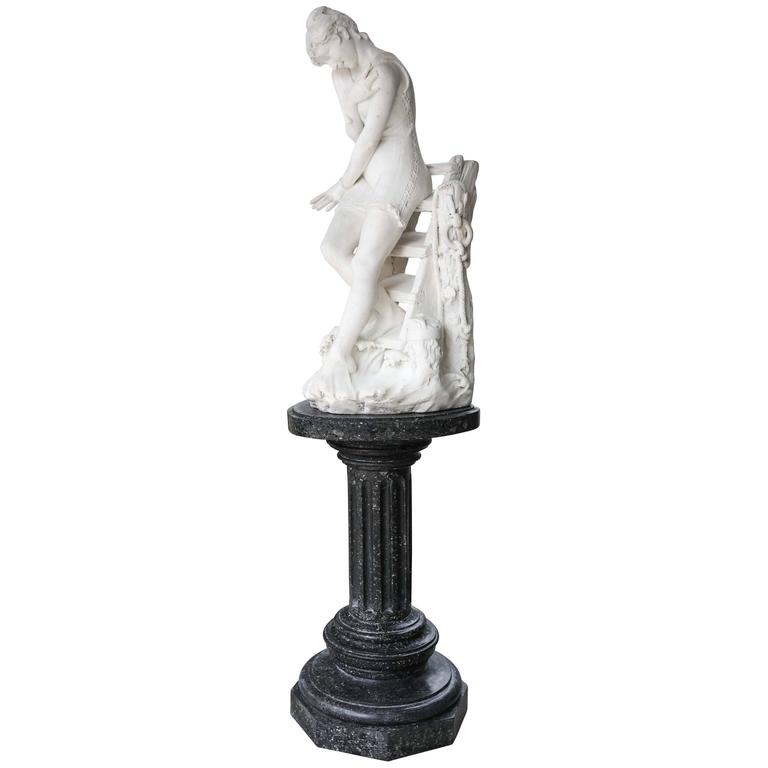 Antique Italian Marble Statue of a Victorian Bathing Beauty, Emilio P. Fiaschi