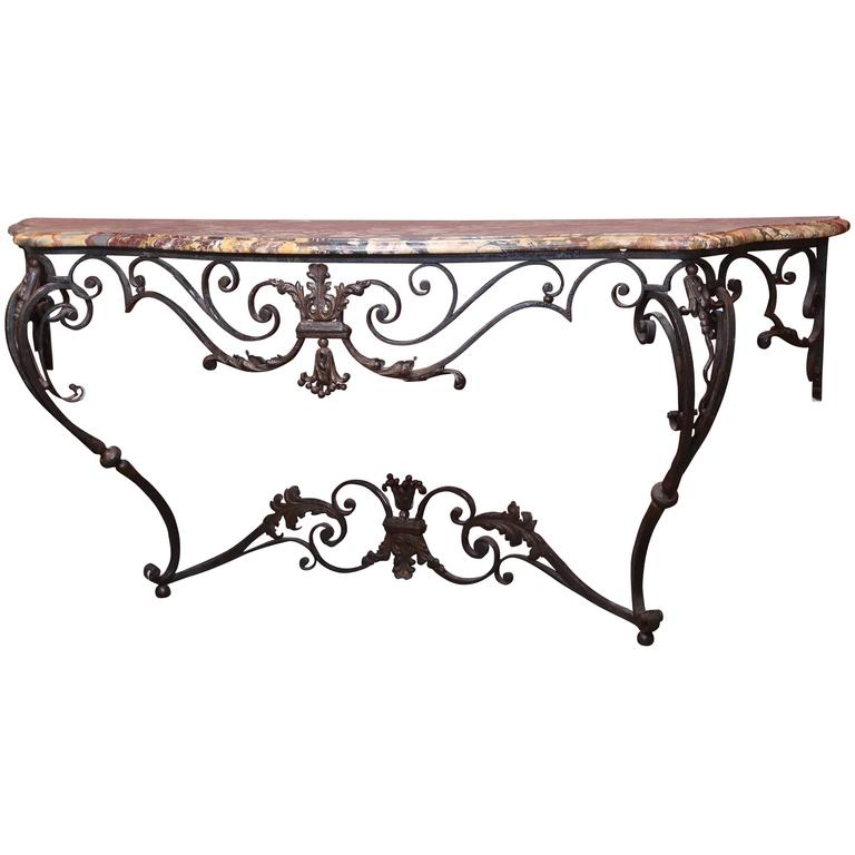 French Antique Iron Console with Marble Top