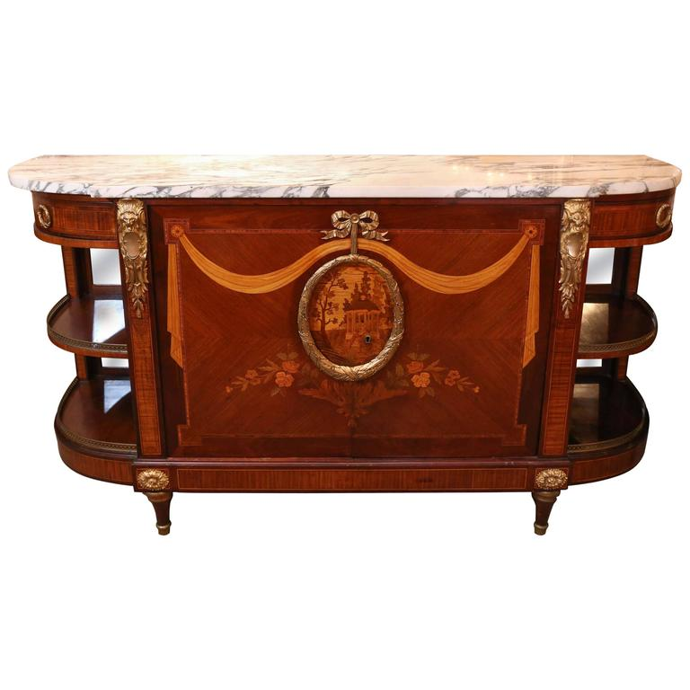 Louis XVI Style Gilt Bronze Mounted Mahogany and Marquetry Inlaid Commode