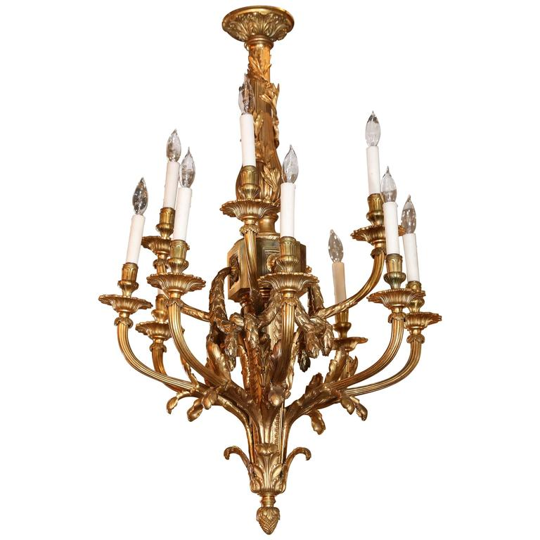 Fine Louis XVI Style Gilt Bronze Twelve-Light Chandelier, Late 19th Century
