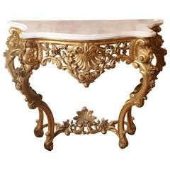 Fine Louis XV Style Giltwood Console with White Marble Top, Late 19th Century