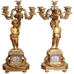 Pair of Gilt Bronze and Sevres Porcelain Candelabrum